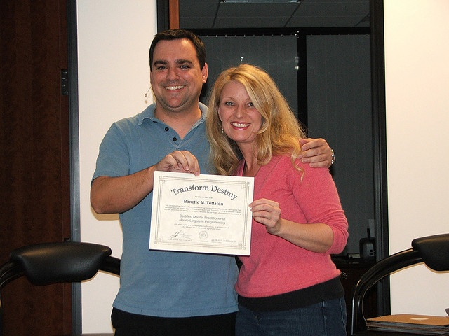 Graduates of our NLP classes get four certificates: Neuro-Linguistic Programming, Coach, Hypnotherapy, and TIME Techniques.     Visit our website http://myselfdevelopmentplan.com