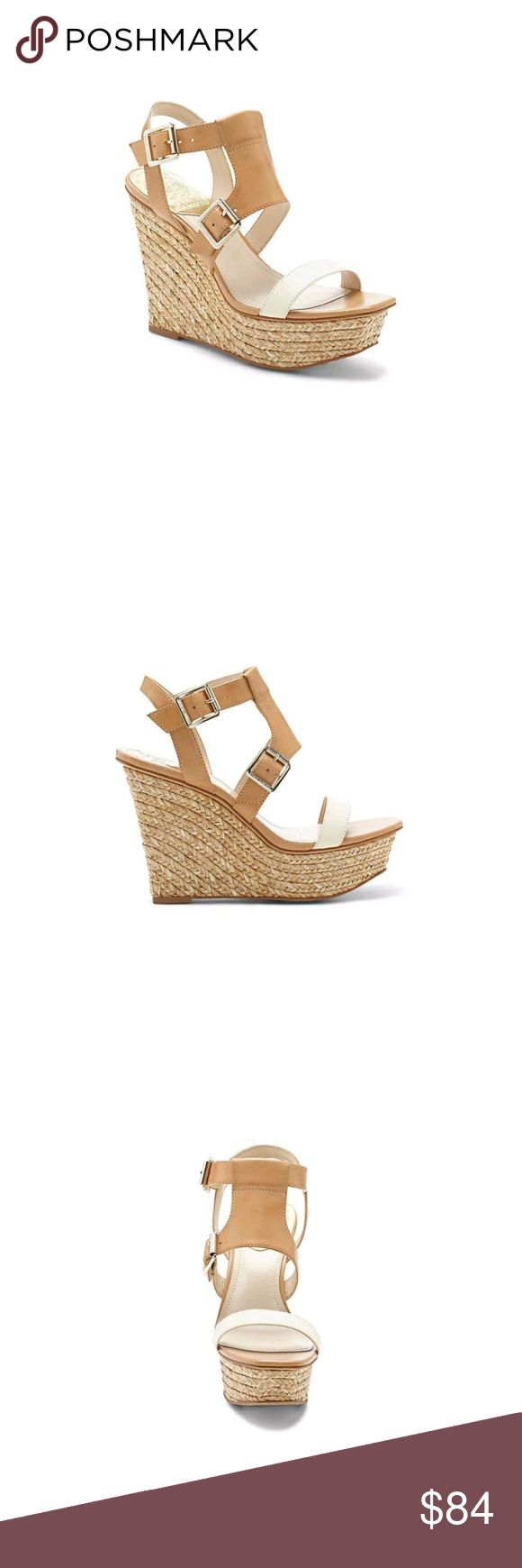 """Sz 7.5M Vince Camuto Noli Platform Wedges Women's VINCE CAMUTO NOLI OPEN TOE Wedge CLOUD CREAM SANDALS, Size 7.5M VC-NOLI  Style #: VC-Noli  Color: Cloud Cream  Material: Leather Outback Veg Vachetta  Suggested Retail Price $110.00  A sleek espadrille is ready to roam the streets in two-tone leather. The Noli from Vince Camuto sports logo buckles that add a glittering touch this high fashion wedge.  4.3"""" heel; 1.5"""" platform  Worn once Vince Camuto Shoes Platforms"""
