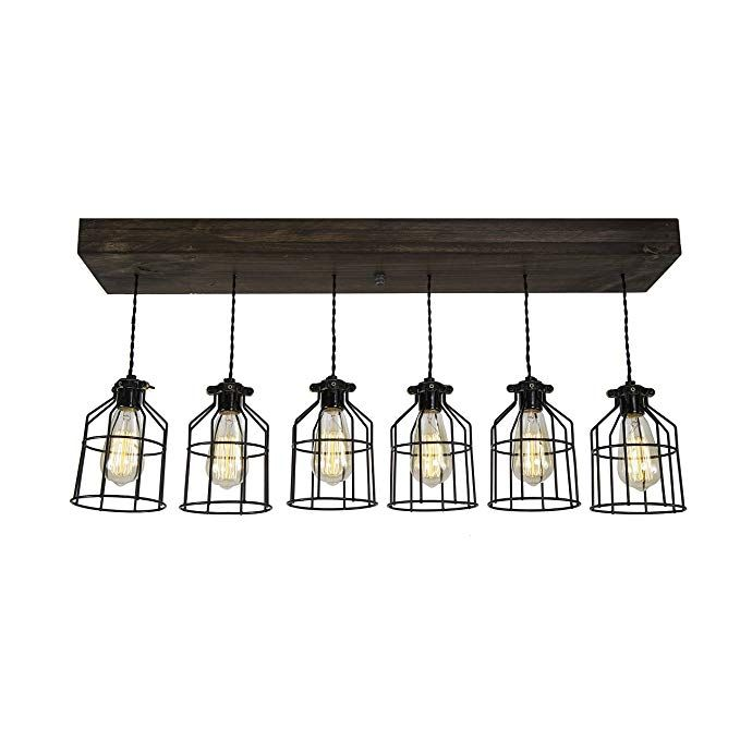 Farmhouse Lighting Wrapped Wood Beam Farmhouse Chandelier Pendant Light Fixture Rustic Lighting Great for Kitchen Island Lighting, Dining Room, Bar,