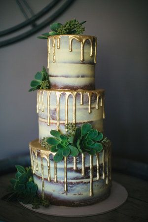 Naked Wedding Cake with Gold Drip