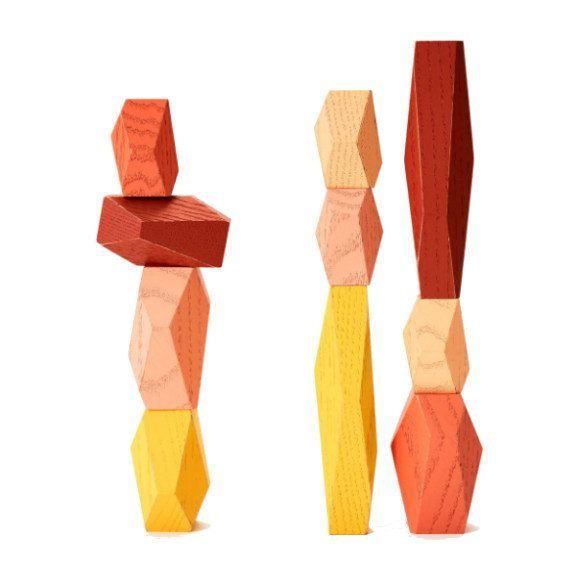 Kids Toys Desert Balancing Blocks Yellow Areaware In