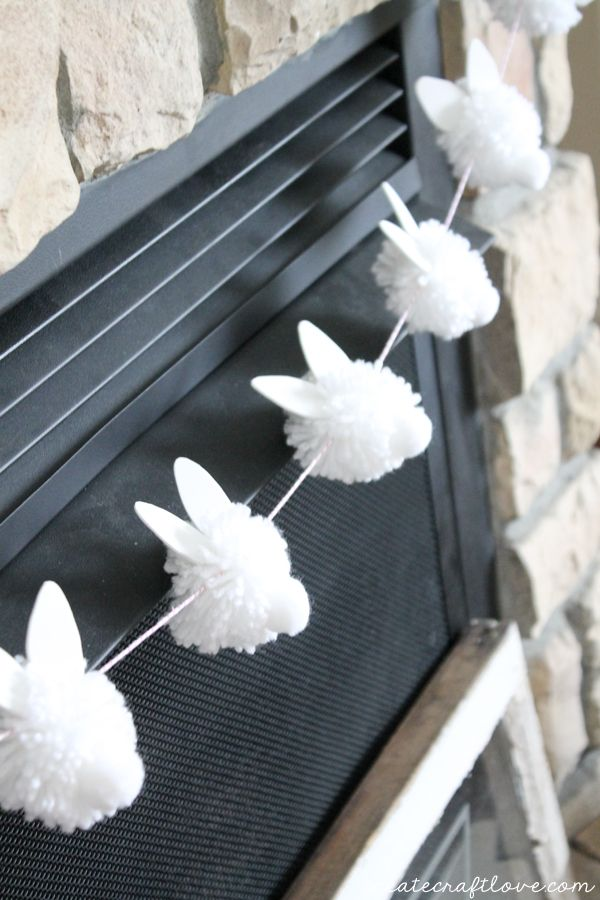 "{DIY} Bunny Pom Pom Garland screams ""Hoppy"" Easter!                                                                                                                                                     More"