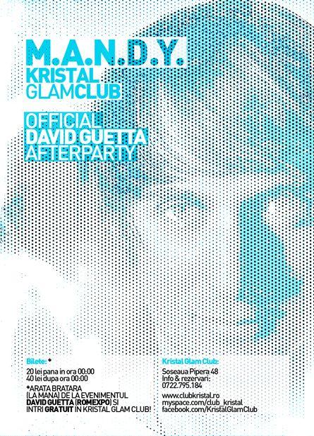 david guetta afterparty - mandy - kristal glam club - bucharest romania - flyer