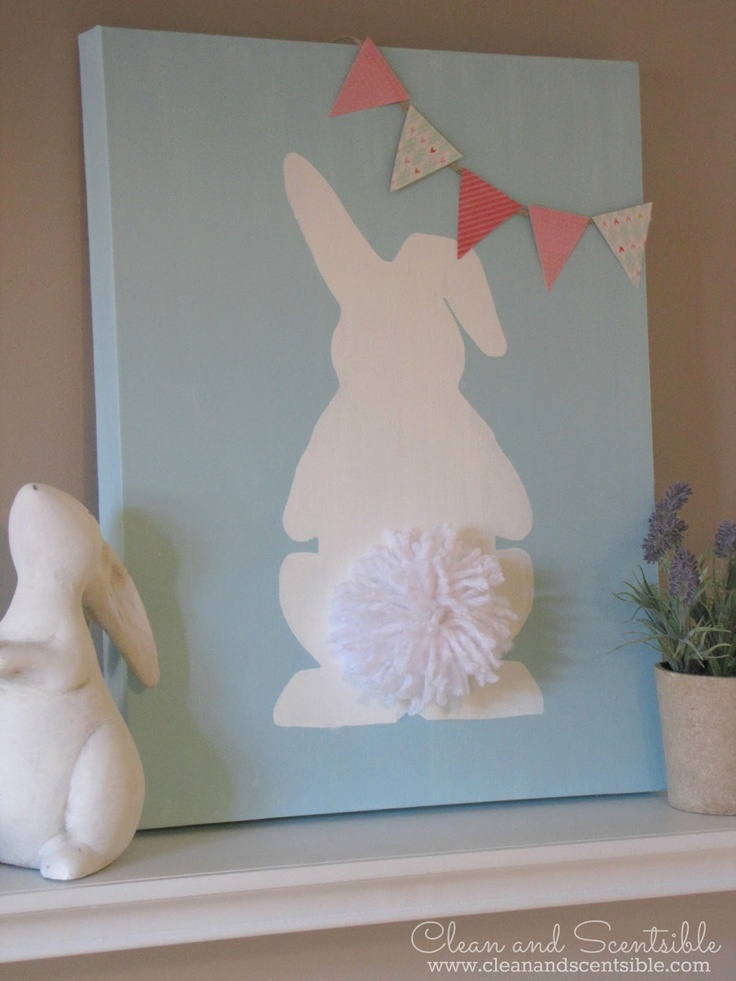 "craft paint {I used Martha Stewart ""Cloud""}  vinyl or other bunny stencil {I purchased mine from the Silhouette Store.You just need to ungroup and use the one down in the corner!}  white yarn  scrapbook paper  double sided tape"