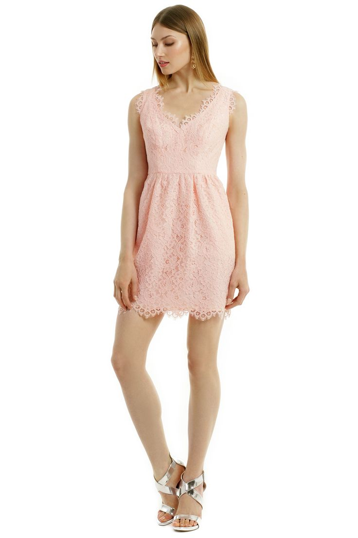 Shoshanna lace dress in petal