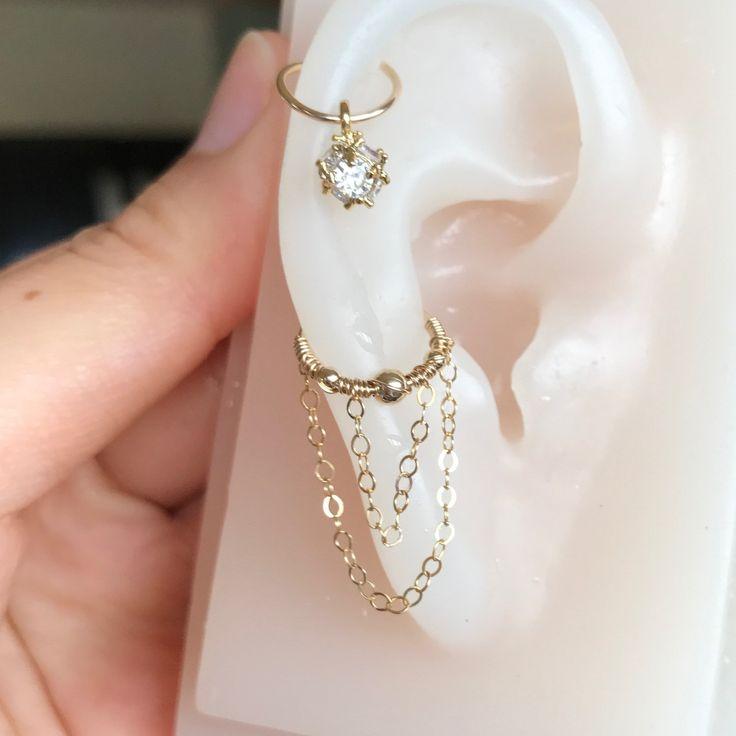 20/22/24gauge 14k gold filled double  chains earring hoop-lobe cartilage helix conch piercing jewelry