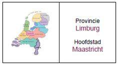 MEMORY PROVINCIES: Zoek 2 kaarten waarvan op de ene kaart een afbeelding staat van de provincie en op de andere kaart de naam en de hoofdstad van de provincie. Wie vindt de meeste paren? Opmerking: Op de foto wordt de provincie Limburg in Nederland bedoeld.