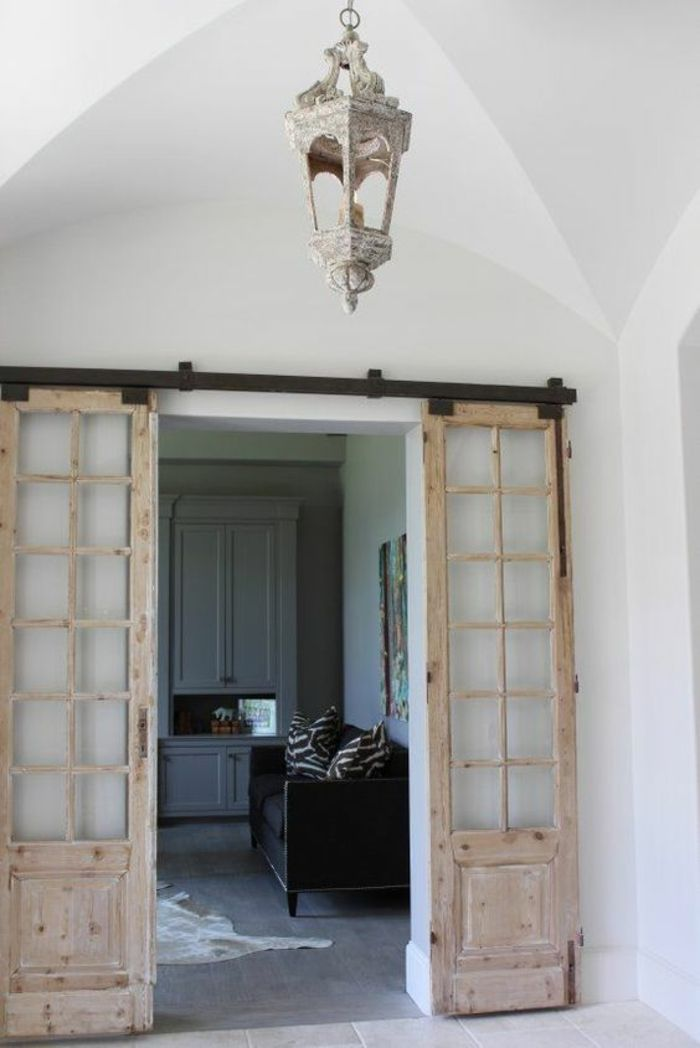 Les 25 meilleures id es de la cat gorie double porte coulissante sur pinterest doubles portes - Porte coulissante grange ...