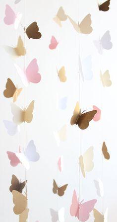 Goud en roze vlinder mobiele Baby meisje kwekerij door TheDreamBarn