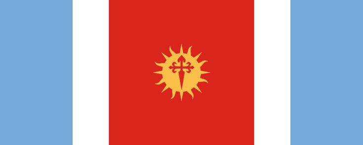 Los colores celeste y blanco de la bandera representan los colores patrios, el rojo simboliza al federalismo mientras que el sol incaico a las raíces americanas. Sobre el sol se encuentra una espada que simboliza la ascendencia hispana y cristiana.