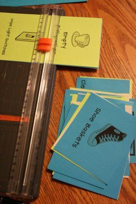 """great plan for chores - laminated chore cards on key rings, jobs rotate, some are """"fun jobs"""" like reading a book with mom or choosing a popsicle"""