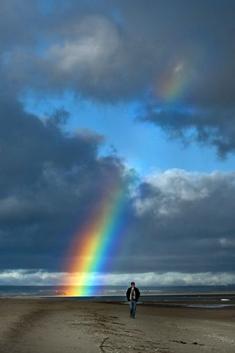 Rainbow at St. Andrews Scotland = When clouds darken the sky, there's a rainbow coming ....