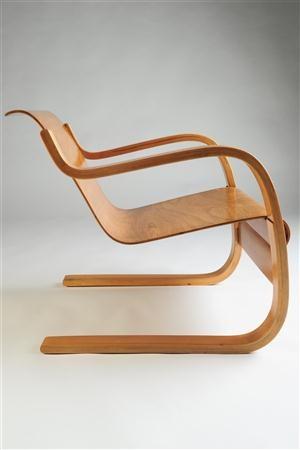 Armchair, No. 42. Designed by Alvar Aalto for Artek, Finland. 1930's.