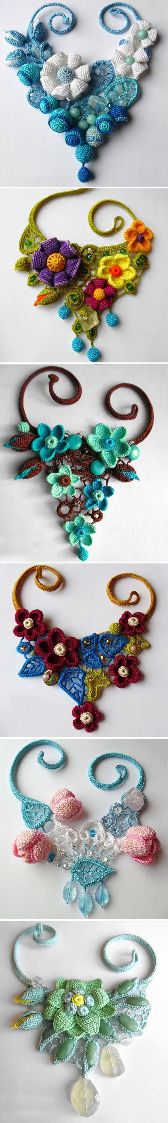 Russian artist Tatiana Potemkina makes wonderful crochet jewelry pieces