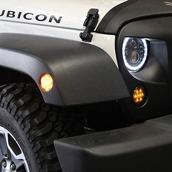 Amazon Com Xprite Clear Lens Yellow Led Front Replacement Turn Signal Light Fender Side Marker Light Assembly For 2014 2 Jeep Wrangler Jk Jeep Wrangler Jeep
