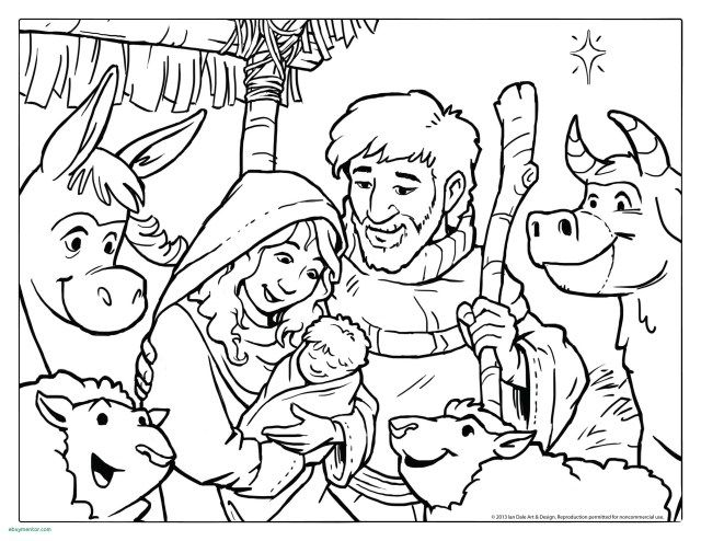 Nativity Scene W Joseph Mary And Baby Jesus In A Manger In The