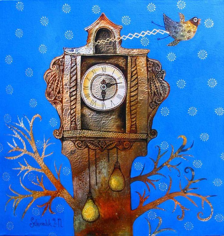 Лентами, рисунок чудесные часы