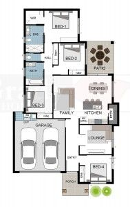 609703 Bondi Floor Plan - 4 bedrooms and lounge room with walk in pantry. Copyright Grady Homes