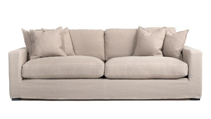 Beige, sand, Valen soffa med avtagbar linneklädsel. Linne, djup, låg, soffa, stor, rymlig, möbler, inredning, vardagsrum, dun. http://sweef.se/sweef-lyx/507-valen-loose-linne-edition.html