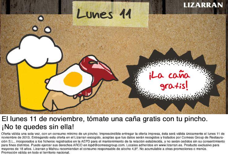 El lunes 11 de noviembre, tómate una caña gratis con tu pincho. ¡No te quedes sin ella! Pincha en la imagen para obtener la oferta: