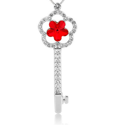 Fashion Womens Key Star Red Crystal Rhinestone Silver Chain Pendant Necklace NEW - https://barskydiamonds.com/necklaces/