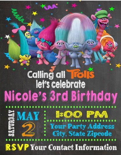 Troll Trolls Birthday Party Invitations Custom Personalized