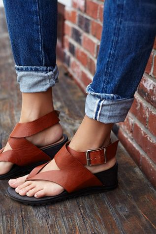 Six Point Wedge Sandal | Free People Strappy thong sandals with stacked wedge bottoms and leather uppers.