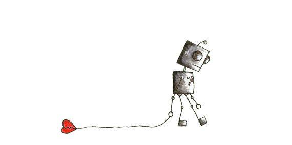Painted print image of Broken Heart Love Robot  by LOLOBOTdesigns, $15.00