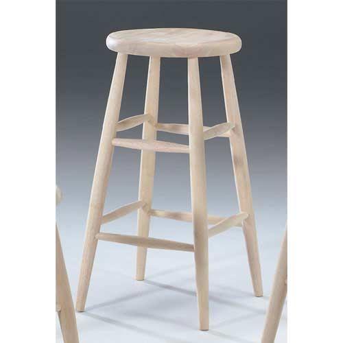 Wood Scooped Seat Stool
