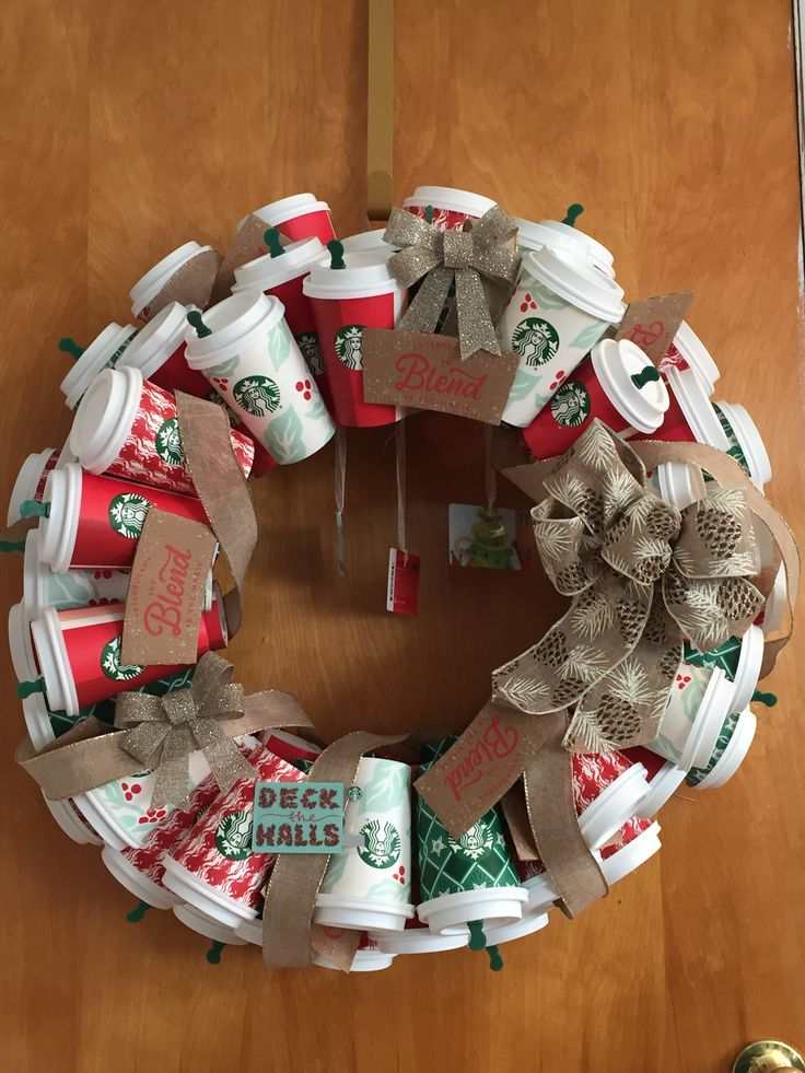 Starbucks Coffee Wreath (With images) Christmas wreaths