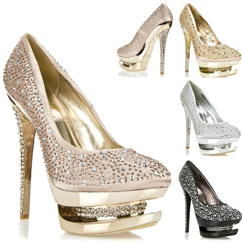 Womens Shoes High Heels Studded Rhinestone Platform Pumps Gold