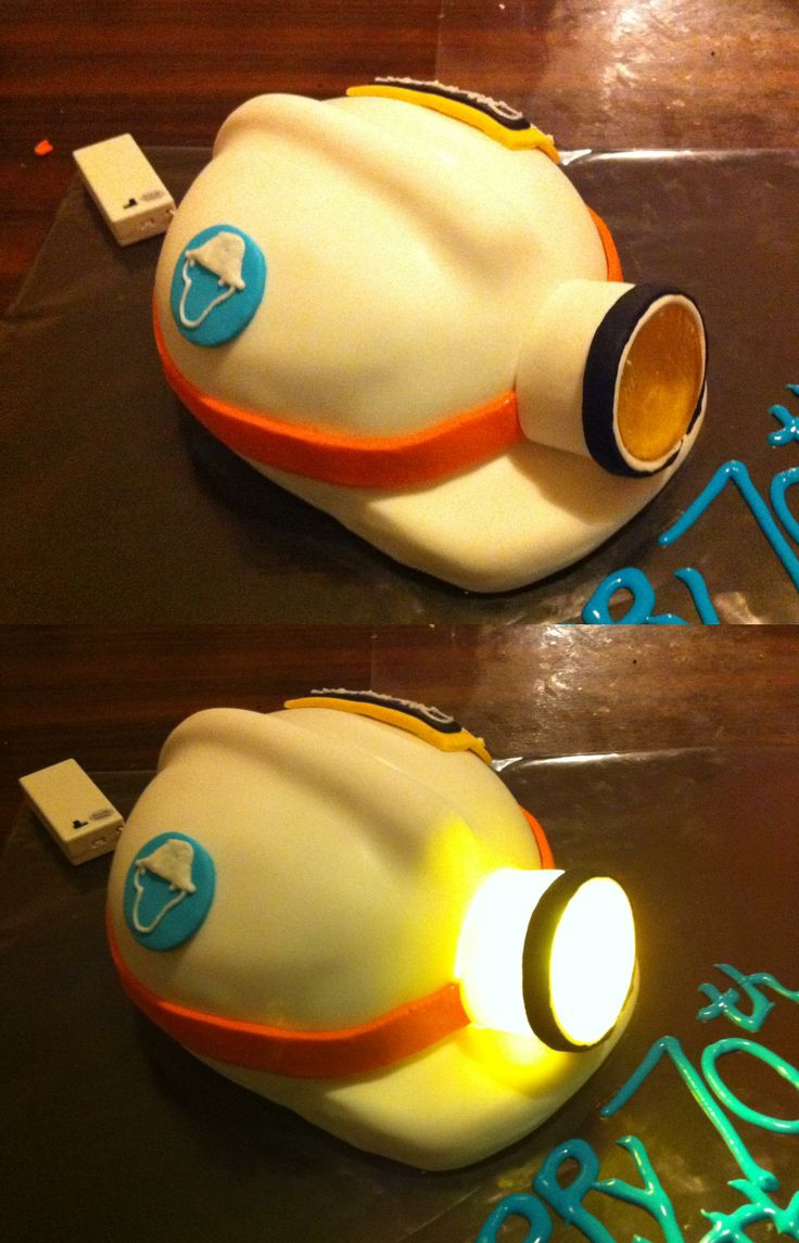 Miner's Helmet Cake with Working Lamp - By Nat and Jess