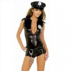 DISFRAZ POLICIA CATWOMAN  M&S LINGERIE T.U. SEXY COSTUME POLICE CATWOMAN M&S LINGERIE T.U. Fantástico disfraz de mujer policía compuesto top enterizo de vinillo adaptable y muy sexy ajustado, incluye esposas, gorra y cinturon, todo un disfraz erotico ideal para una noche sorprendente, gogos strippers... Material,  95% Vinillo acabado brillo 5% Spandex