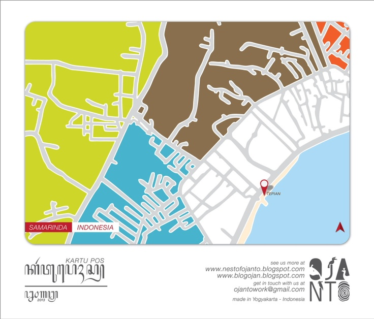 Indonesian City Maps Postcard Series (January 2013) | Samarinda - Indonesia | special spot : Tepian | Postcard Design by Ojan