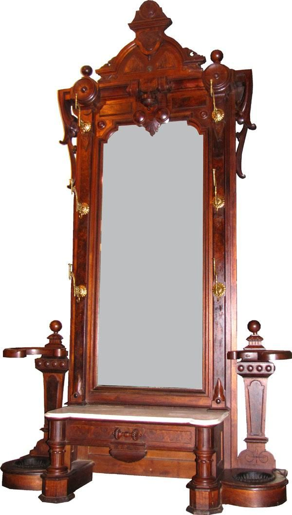 LG VICTORIAN HALL TREE PIER MIRROR W/MBL TOP