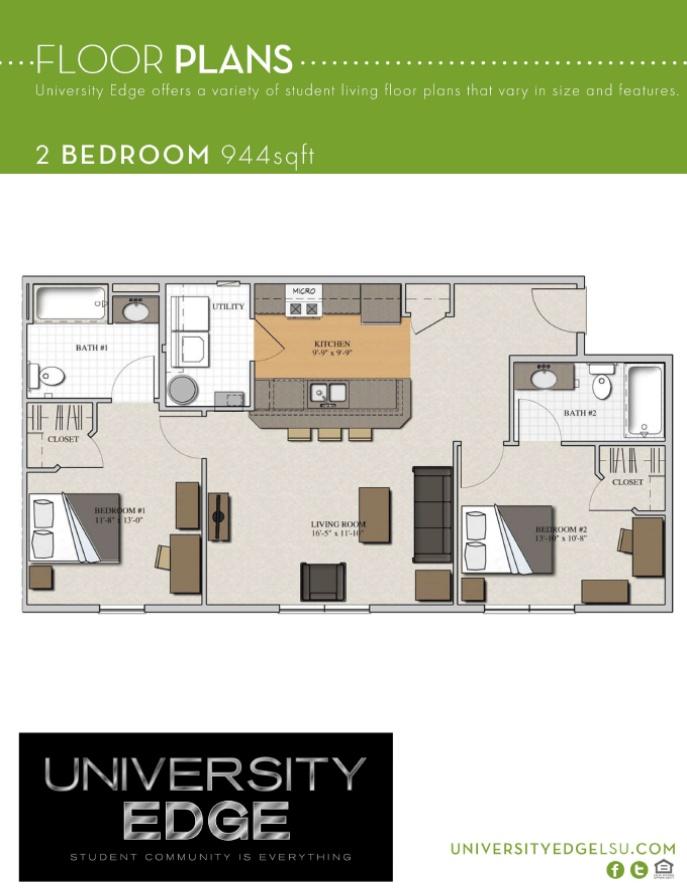 College Apartment 2 Bedroom   University Edge LSU
