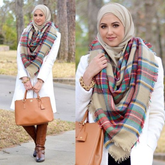 plaid checked scaf outfit, Winter hijab street styles by leena Asaad…