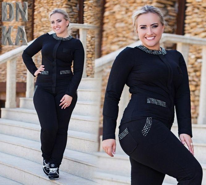 Стильный женский костюм большого размера черный со стразами Swarovski