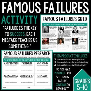 Famous Failures Writing Activity UPDATED October 2016This activity is perfect for the new year! It lists 6 popular/successful people who were at one point in their lives told differently. I include a Famous Failures Grid, Famous Failures Research Activity, and Famous Failures Writing Activity.