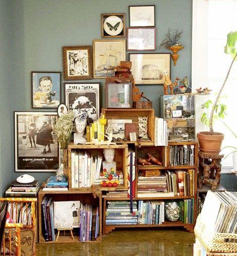 crates: Bookshelves, Idea, Wine Crates, Decoration, Crates Shelves, Wine Boxes, Bookca, Wooden Crates, Woods Crates