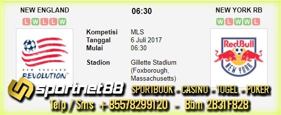 Prediksi Skor Bola New England vs New York RB 6 Jul 2017 MLS di Gillette Stadium (Foxborough, Massachusetts) pada hari Kamis jam 06:30 live di beIn Sport 1,