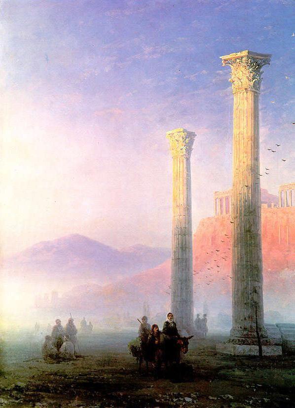 "Ivan Aivazovsky: ""Acropolis of Athens"", 1883,  oil on canvas, Dimensions:Height: 74 cm (29.13 in.), Width: 63 cm (24.8 in.), Location: Kiev National Museum of Russian Art  (Ukraine - Kiev)."