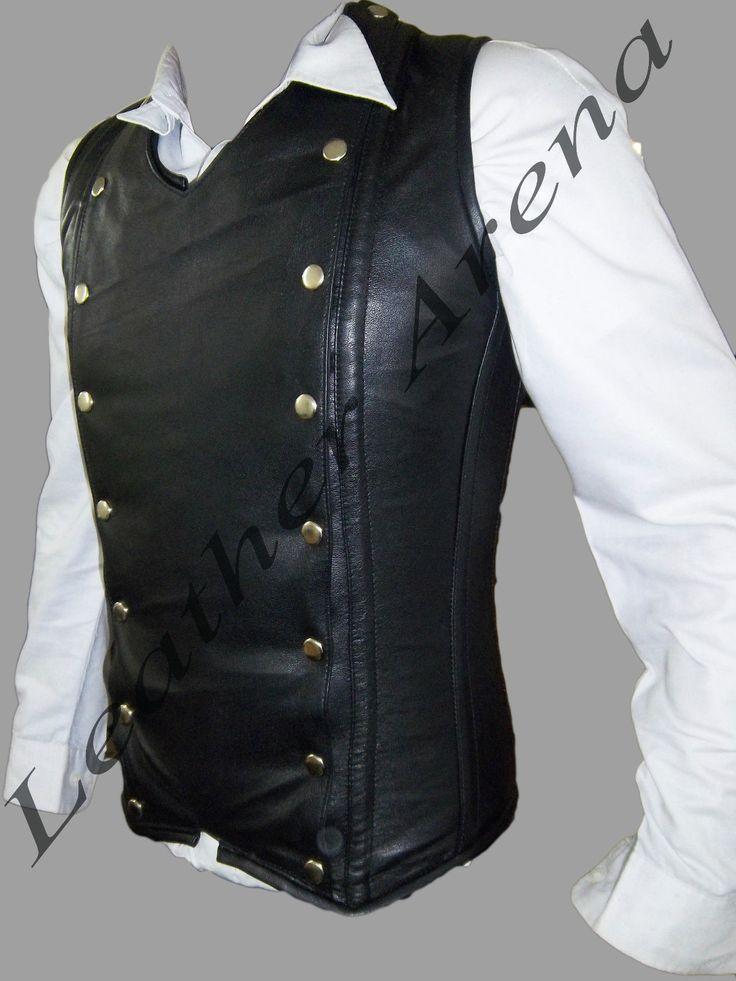 Men S Genuine Black Leather Gothic Vest Corset Back Lacing