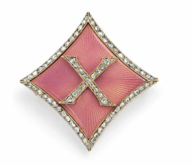 A GOLD-MOUNTED DIAMOND AND GUILLOCHÉ ENAMEL BROOCH  BY FABERGÉ, WITH THE WORKMASTER'S MARK POSSIBLY OF AUGUST HOLMSTRÖM, ST PETERSBURG, CIRCA 1890 Diamond-shaped, with slightly arched sides, centring a rose-cut diamond-set 'X', enamelled in translucent salmon pink over a sunburst guilloché ground, with diamond-set border, marked on pin and pin loop