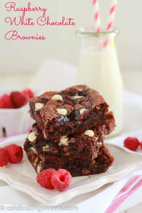 Raspberry White Chocolate Brownies ~ Fudgy brownie recipe filled with white chocolate chips, raspberry jam, and fresh raspberries. Simple and delicious! ~ https://www.julieseatsandtreats.com