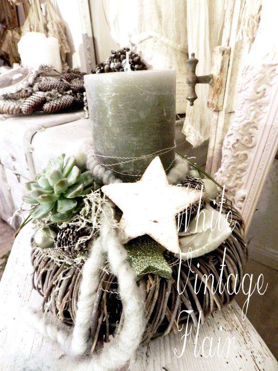 Kerzengesteck / Shabby Chic, landhaus Stil, Weihnachtsdekoration, Kränze, Floristik
