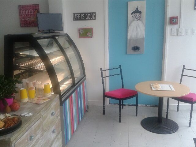 We offer cake, cupcakes, tea and coffe.