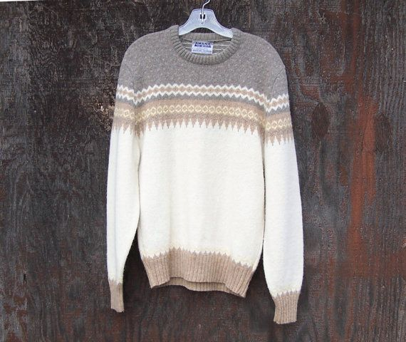 Vintage wool pullover sweater crew neck men women by GloriousMorn, $48.00