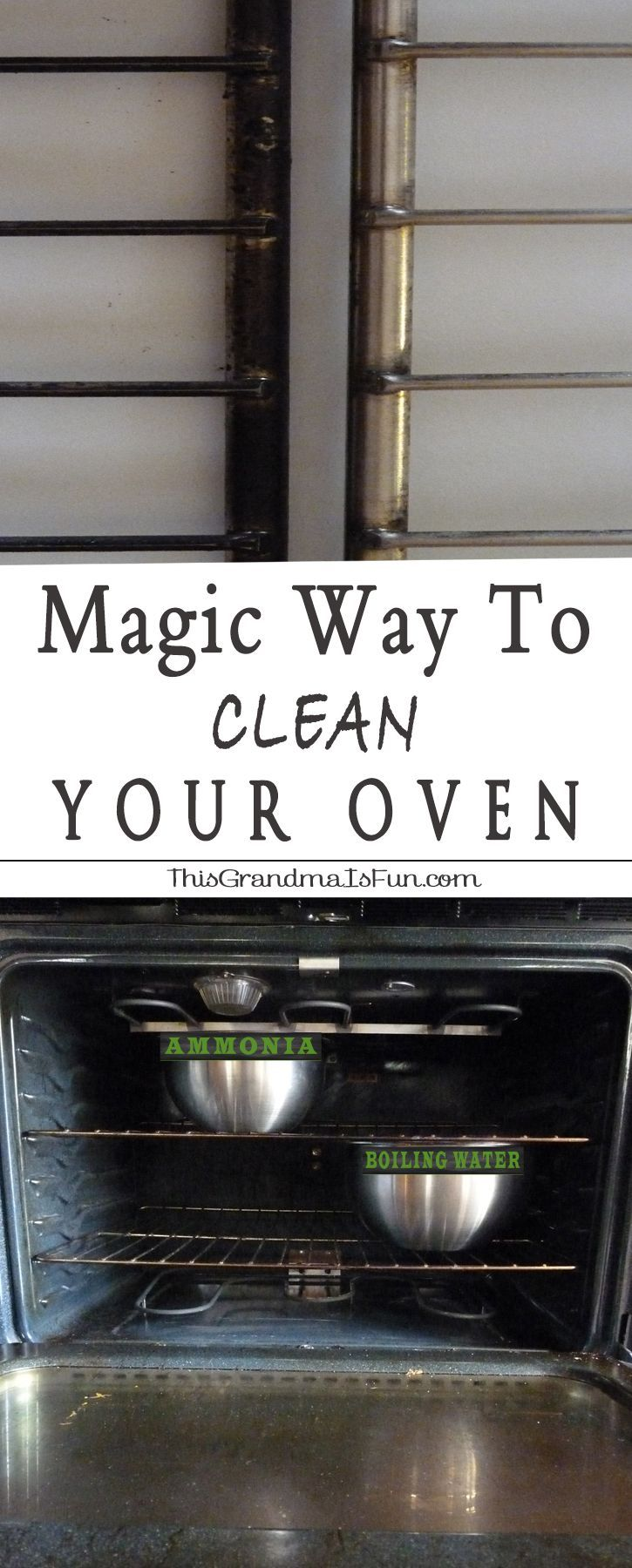 Magic Way to Clean Your Oven - Cleaning the oven is one of my least favorite tasks, I've been known to procrastinate cleaning mine for months. It's a nasty job that usually involves what seems like endless scrubbing. Not anymore. Hello, household Ammonia! I had no idea it could make my life easier. Using Ammonia to clean my ovens cuts the scrubbing down by 90%. I don't avoid cleaning my ovens anymore because getting them clean is quick and easy.