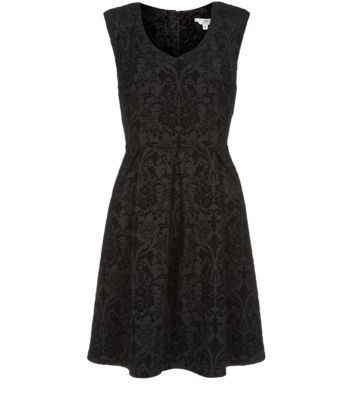 Black Baroque Flocked Skater Dress